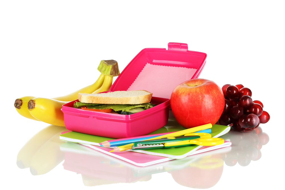 red lunch box with sandwich for school
